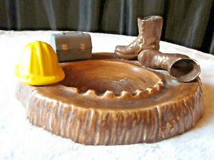 RARE-VINTAGE-ASHTRAY-LARGE-CERAMIC-CONSTRUCTION-CONTRACTOR-HARDHAT-BOOTS