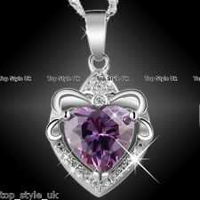 925 Sterling Silver Purple Heart Necklace Pendant Jewelry Gift for her Girl Mum