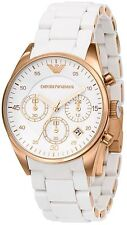 NEW EMPORIO ARMANI AR5920 WHITE ROSE GOLD LADIES WATCH - 2 YEARS WARRANTY