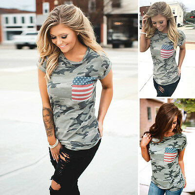 Summer Women Stylish Camouflage American Flag Print Casual Tops Blouse Tee Hot