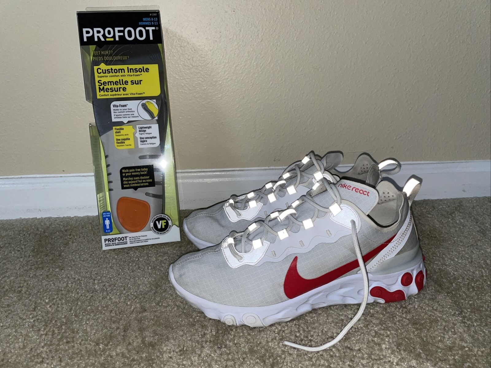 Size 9.5 - Nike React Element 55 White University Red 2019 for ...
