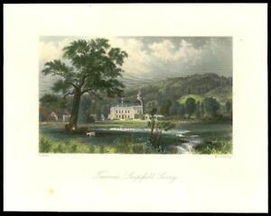 1850-Original-Antique-Print-SURREY-TREVEREUX-LIMPSFIELD-Tandridge-GC3-40