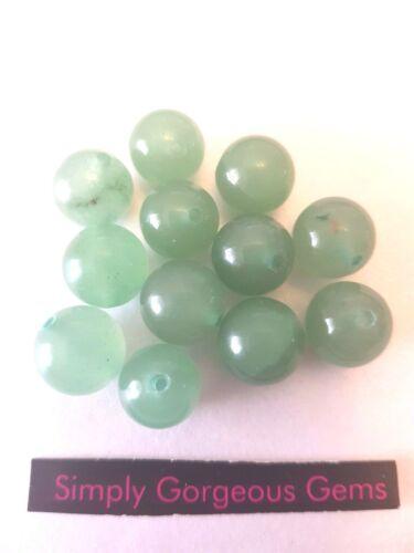 12 Pretty Round Green Aventurine Gemstone Beads 8 mm