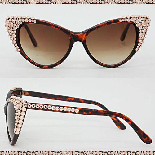 CRYSTAL Rhinestone Sunglasses Bling Cat Eye Brown Frame Lens Bubble Cluster Chic