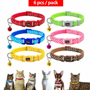 6-18-24pcs-Polka-Dots-Pet-Puppy-Cat-Kitten-Small-Dog-Adjustable-Collars-amp-Bell