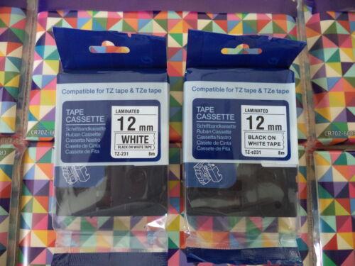 "2 Compatible TZ-231 TZe-231 12mm 1//2/"" LABEL-TAPE BLACK PRINT WHITE 26.2 BROTHER"