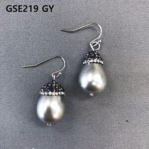 Silver-Finished-Rhinestones-Oval-Acorn-Shape-Gray-Pearl-Drop-Dangle-Earrings