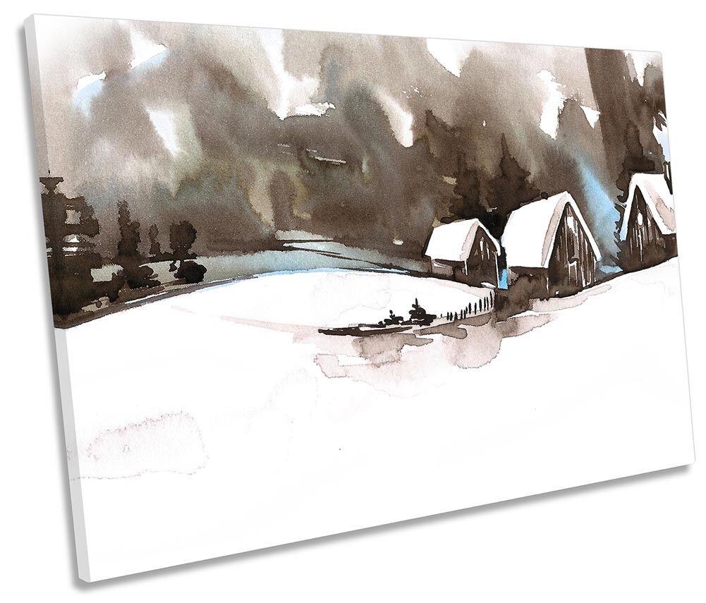 Winter Scene Countryside Framed SINGLE CANVAS Drucken Wand Kunst