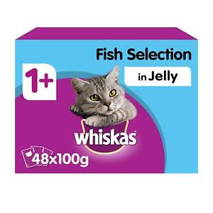 48 x 100g Whiskas 1+ Adult Wet Cat Food Pouches Mixed Fish In Jelly