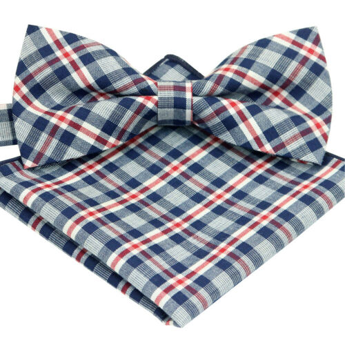 *BRAND NEW* NAVY/&RED CHECKED MENS BOW TIE/&POCKET SQUARE SET B871