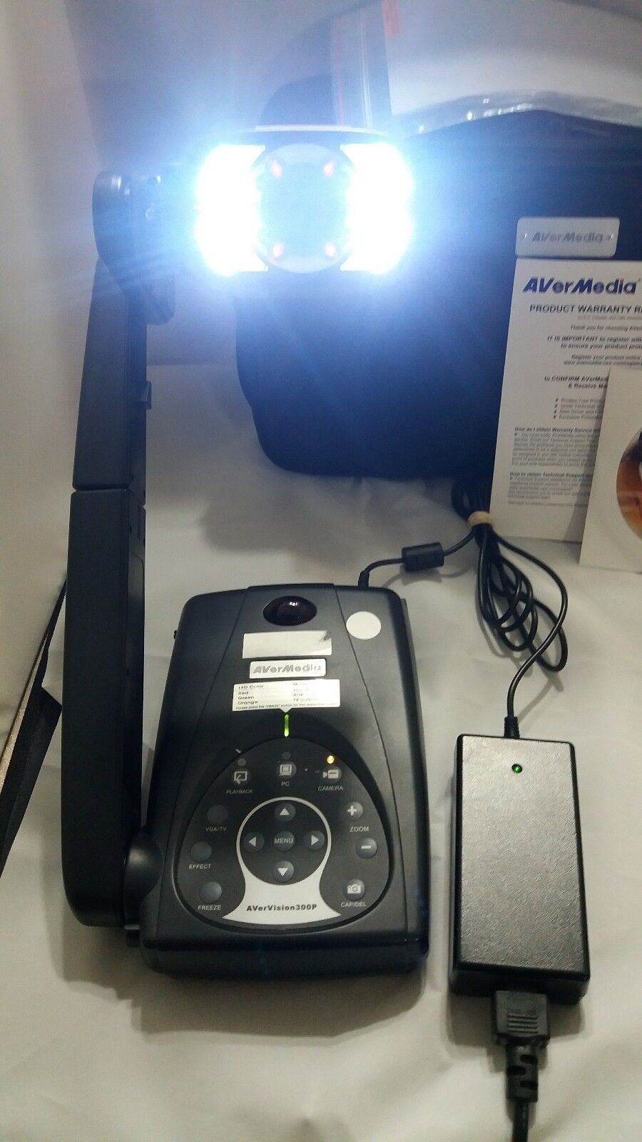 AVerMedia AVerVision 300P Video Presentation Camera with power adapter.