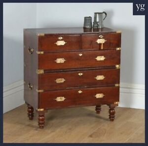 release date: 93d12 6ae9f Details about Small Antique Anglo Indian Teak Brass Military Campaign Chest  of Drawers c.1840