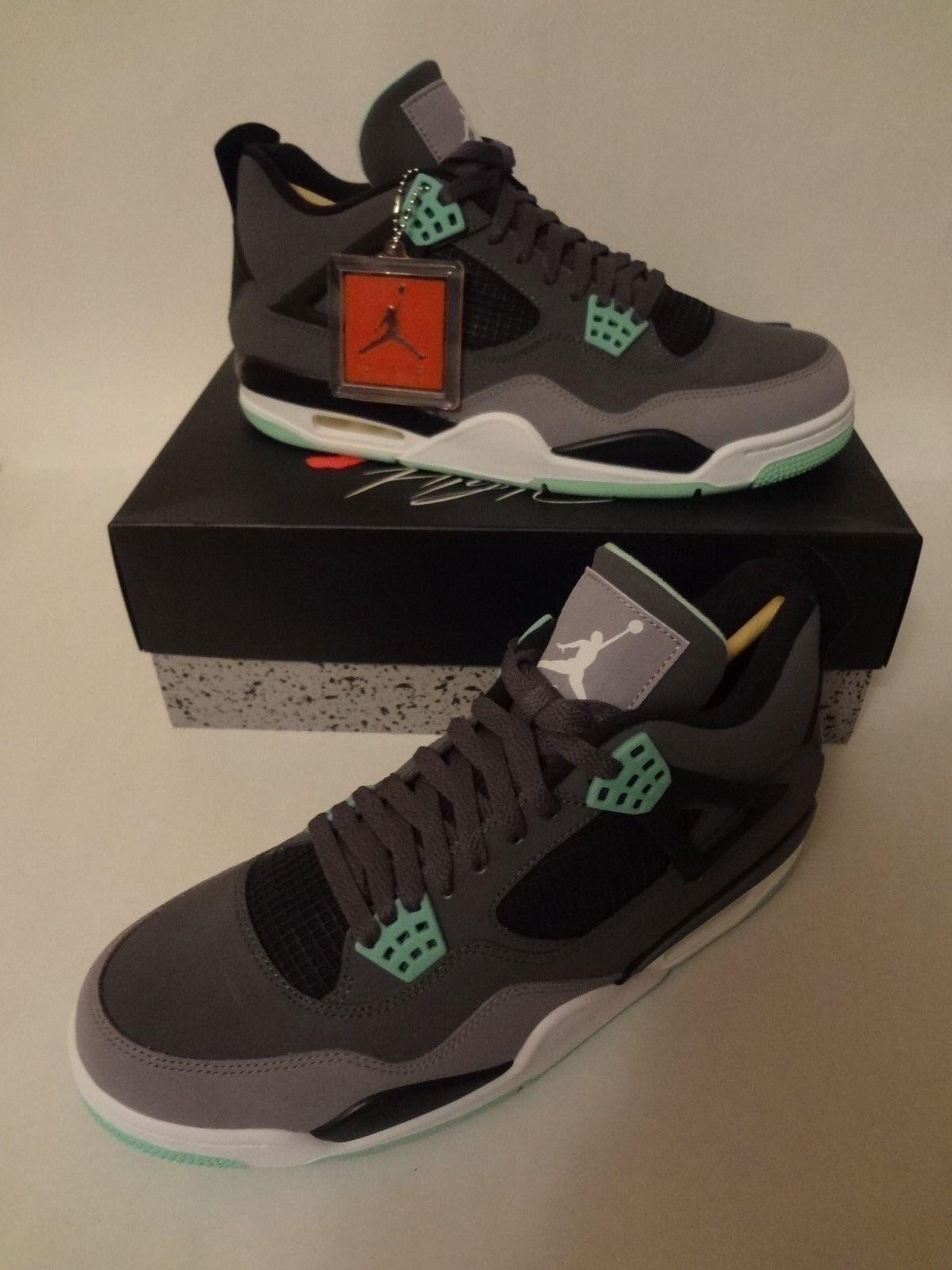 Nike Air Jordan IV 4 Retro GREEN GLOW Size 11.5 Dark Grey Cement 308497 033 NIB
