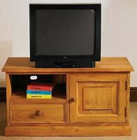 Hampton Waxed Pine Furniture Widescreen Television Cabinet Stand Unit