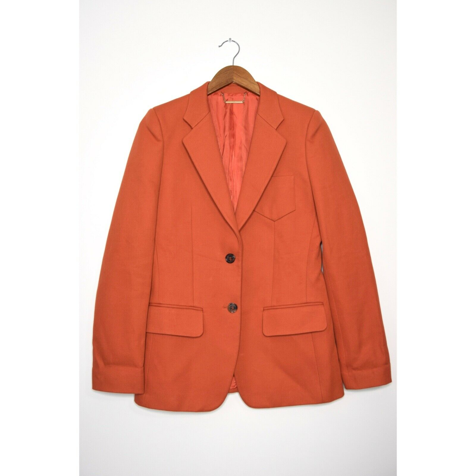 CHLOE Cotton Blazer Two Button Structured Jacket Lined Orange size 40 US 4