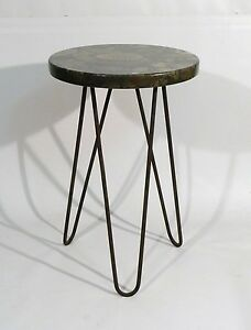 Image Is Loading MARBLE TOP IRON HAIRPIN SIDE TABLE FRENCH 1950s