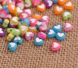100pcs-Quality-Acrylic-heart-shaped-charm-spacer-loose-beads-DIY-Jewelry-8MM