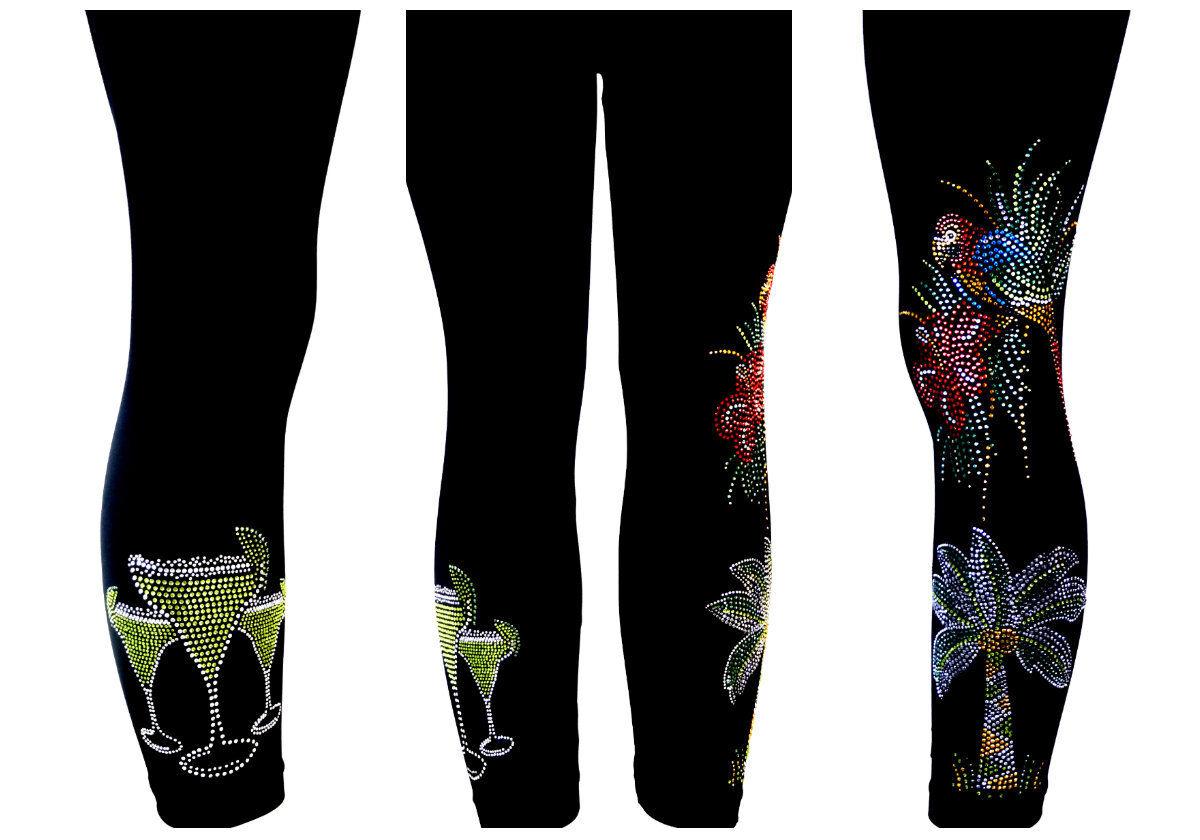Plus Capri Leggings HAND Embellished Rhinestone Tropical Parred Palm Margarita's