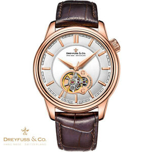 Dreyfuss-amp-Co-DGS00093-02-Automatik-1925-braun-Leder-Armband-Uhr-Herren-NEU
