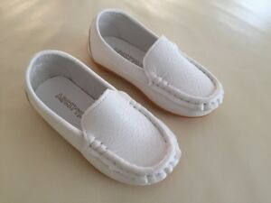 NEW-Boys-Formal-Soft-Rubber-Sole-Loafer-MOCCASINS-Shoes-White-size-5-6-7-8-8-5