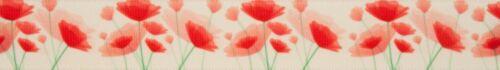 Crema Acuarela Amapola Cinta-Berisfords Impreso Tejido De Satén 25 mm longitudes de corte