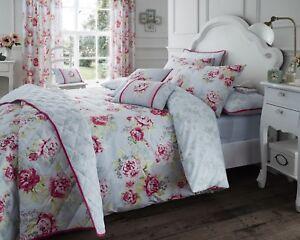 Duvet Cover Set/ Bedspread/ Cushions Bouquet Grey Vintage Rose ...