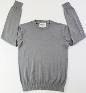 Aeropostale-Mens-Lightweight-Cotton-Blend-Ribbed-Crew-Neck-Solid-Gray-Sweater-L