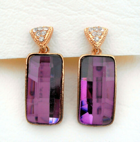 Clip-on gold tone earrings oblong faceted purple glass and crystal Approx.3.5cm