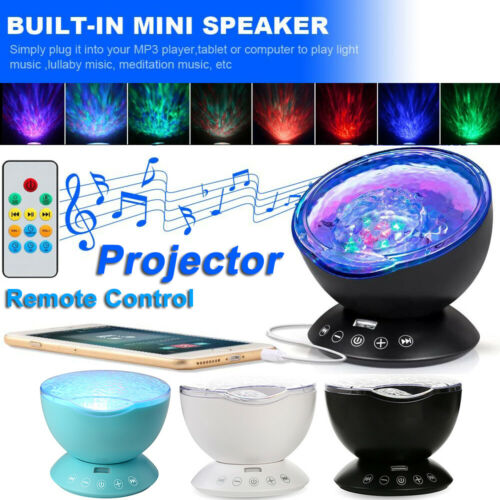 Ocean Wave Music LED Night Lights Projector Remote Relaxing Lamp Christmas Gifts