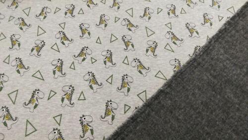 Sweatshirt Alpenfleece Stoff mit Dino/'s/&Dreiecken Creme/&Grau Kinder 2 Seitig