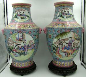 AMAZING Pair of Republic Signed Qianlong Chinese Porcelain Famille Rose Vases