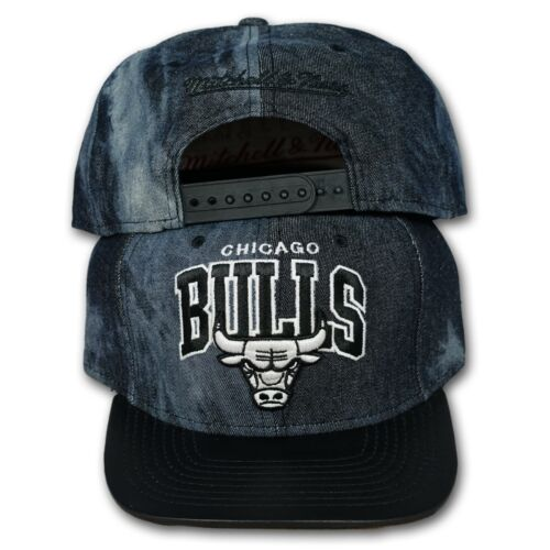 ORIGINALE Mitchell /& Ness Chicago Bulls Snapback Cap NBA BLACK DYED Denim eu234