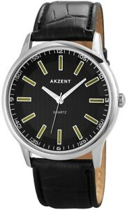 Akzent-Herrenuhr-Schwarz-Silber-Analog-Kunst-Leder-Armbanduhr-X-SS7221000049