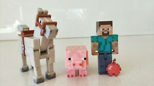 Minecraft-Set-of-3-Horse-Pig-amp-Steve-with-Bomb-Figures-New-without-Box