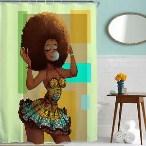 Image Is Loading Custom Waterproof Bathroom African Woman Shower Curtain Polyester