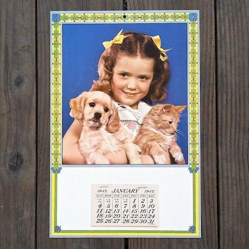 Vintage Original LITTLE GIRL WITH DOG CAT Grocery Store Promo Calendar 1942 NOS