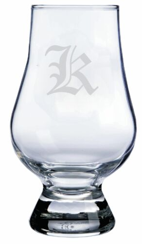 "Monogrammed Old English /""K/"" Engraved Glencairn Crystal Scotch Whisky Glass"