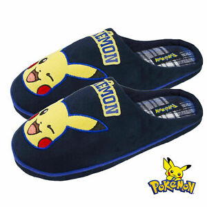MENS-NOVELTY-POKEMON-PIKACHU-SLIPPERS-SLIP-ON-WARM-COMFY-MULES-XMAS-GIFT-UK-7-12