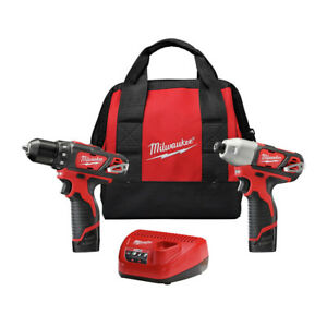 Milwaukee-2494-22-M12-3-8-in-Drill-Driver-and-1-4-in-Hex-Impact-Driver-Kit-New