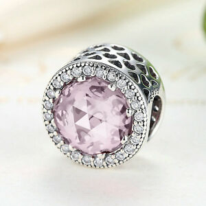 Authentic-S925-Sterling-Silver-Pink-CZ-amp-Crystal-Charm-Bead-fit-Charm-Bracelet