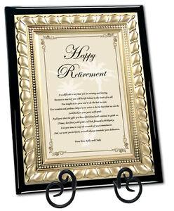 happy retirement gift plaque poem wish coworker colleague boss