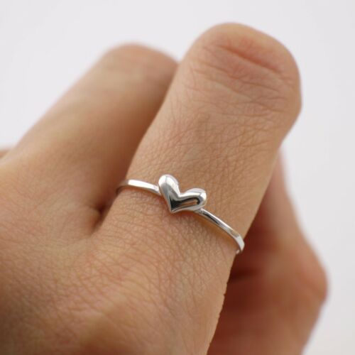 925 Sterling Argent Amour Cœur Mince Knuckle Midi empilable Pinkie Ring A3145