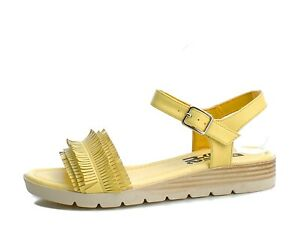 46ddbfe462a Details about Refresh NEW 69748 amarillo yellow fringed low wedge heel open  toe sandals sz 3-8