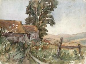 IMPRESSIONIST-FARM-LANDSCAPE-Watercolour-Painting-20TH-CENTURY