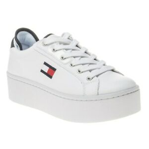 New Womens Tommy Jeans White Flatform