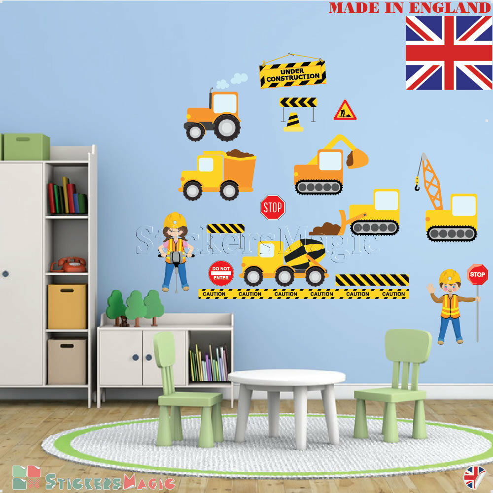 Details About Boys Construction Site Wall Stickers Kids Nursery Bedroom Trucks Digger Decals