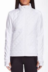Asics THERMO WINDBLOCKER Womens Zip Front Quilted Jacket Size XL White NEW
