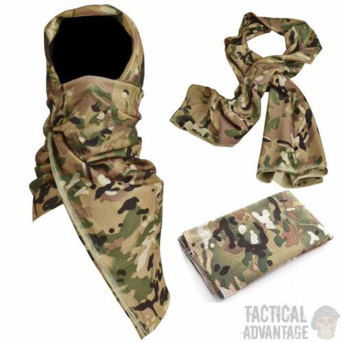 Sciarpa collo Mesh MULTICAM Militare dell/'Esercito cecchino Viso Maschera Di Copertura velo Airsoft UK