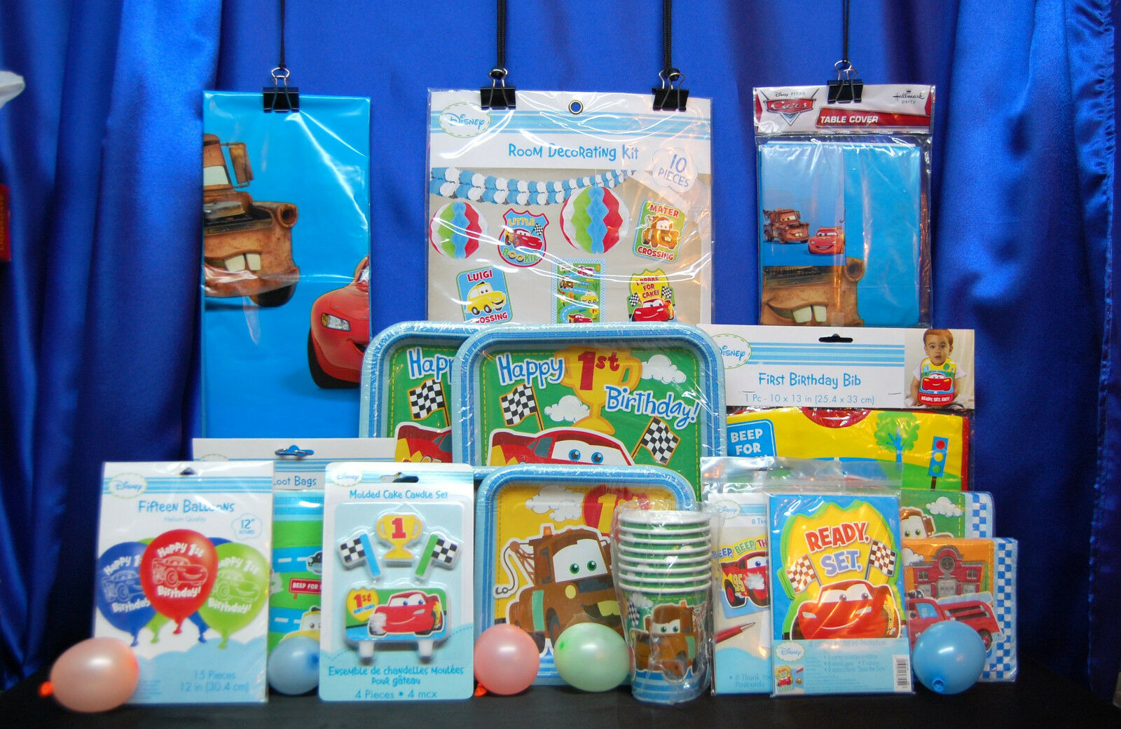 Cars 1st Birthday Party Set   18 Cups Invites Candles Plates Tablecover Napkins