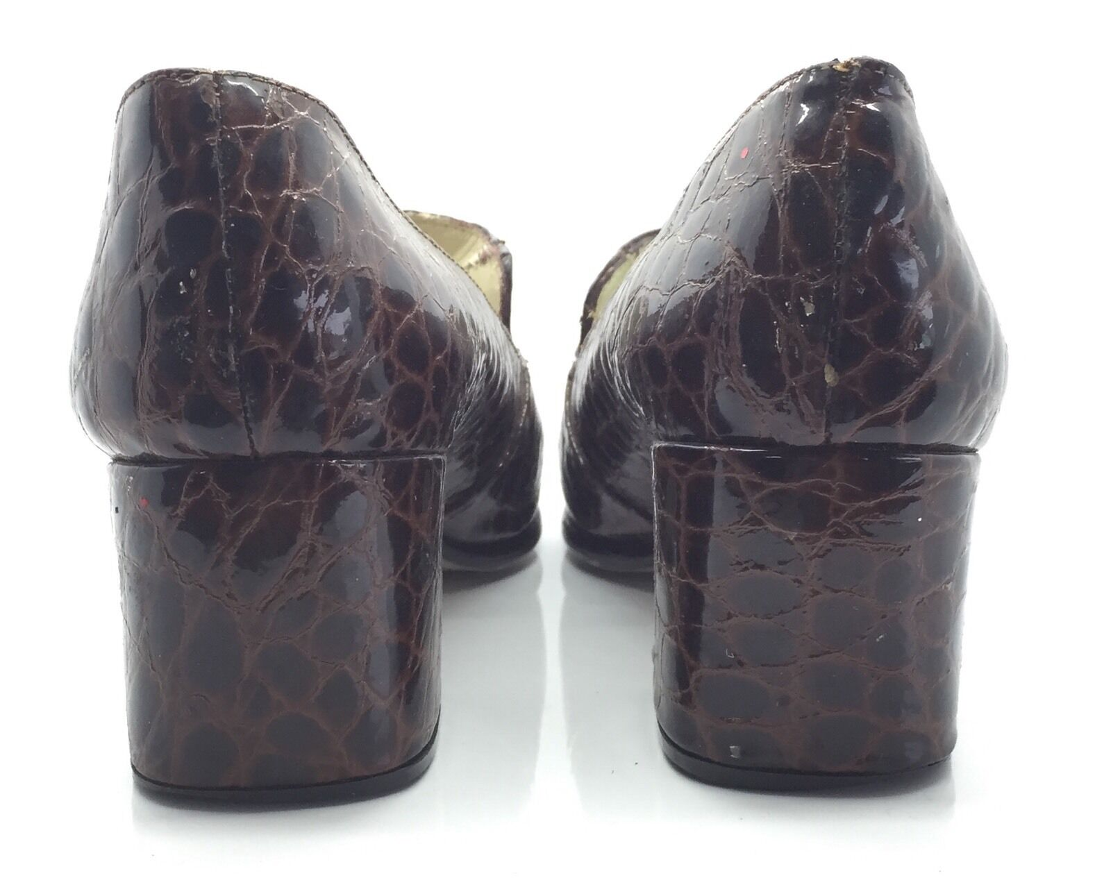 JORDY Braun Crocodile Leder Classic Equestrian Horse Bit Loafer Heels 7M Nice